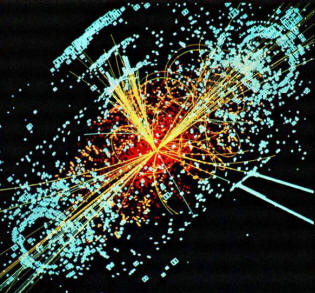 Point of collision of particles in a collider