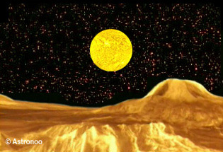Apparent size of the Sun in the sky of Venus