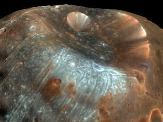 sticney crater on Phobos moon of Mars