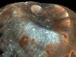 Stickney crater on Phobos moon of Mars