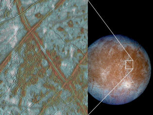 Details Europa moon of Jupiter