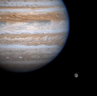Ganymede and Jupiter as seen by Cassini