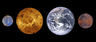 comparative sizes of the terrestrial planets