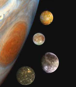 Four Galilean moons of Jupiter