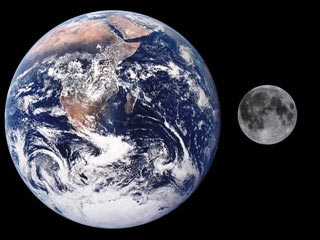 Size comparison between Earth and Moon