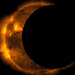 Eclipse of the sun seen from the satellite Inode