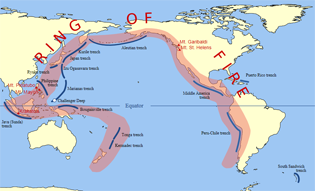 Ring of Fire of the Pacific, line of volcanoes, ocean trenches